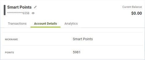 screenshot of smart points account details